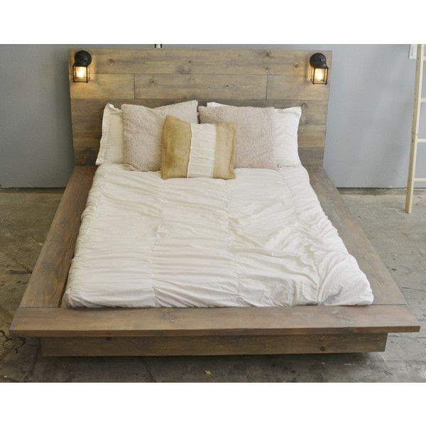 sale 20 off floating wood platform bed frame with lighted 1 120 liked on polyvore. Black Bedroom Furniture Sets. Home Design Ideas