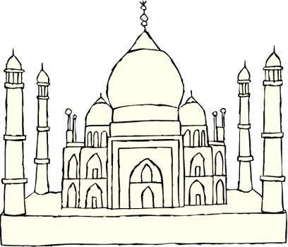 Taj Mahal Drawing For Kids Taj Mahal Coloring Page Taj Mahal