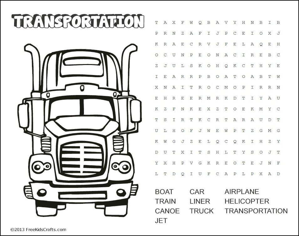 Printable Transportation Word Search Puzzle   Kids word ...