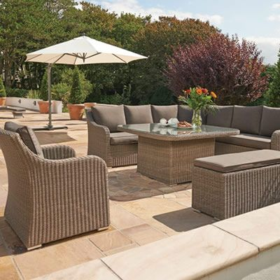 kettler madrid complete corner set in rattan with taupe cushions kmadratco available to buy online from garden furniture world - Garden Furniture Kettler