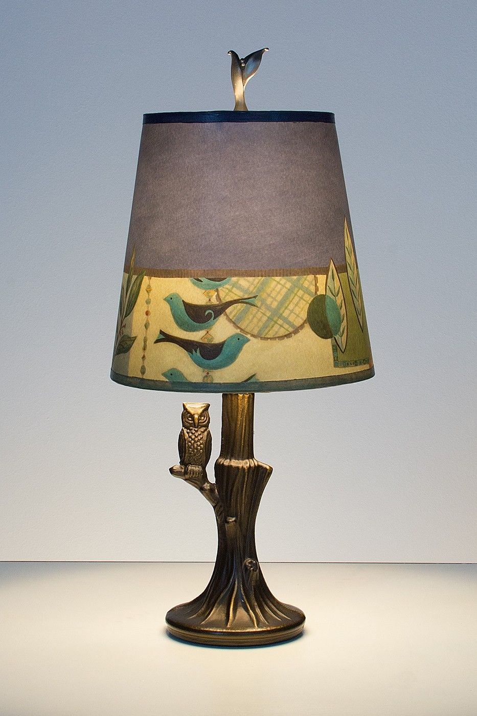 Bronze owl lamp with small drum shade in new capri periwinkle bronze owl lamp with small drum shade in new capri periwinkle aloadofball Choice Image
