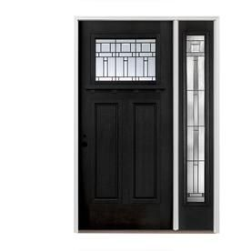 Pella Craftsman Decorative Glass Right Hand Inswing Painted Fiberglass Prehung Entry Door With Right Sidelight With Insu Entry Doors Black Exterior Craftsman Door