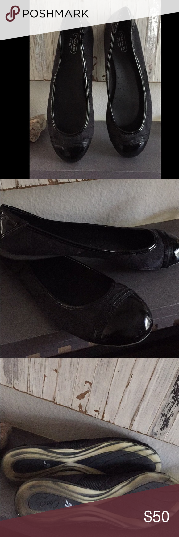 Coach black flats Used 2-3x. Not my size so I can't tell you if they're true to size sorry. They're a size 9. These are not marked on the inside for some odd reason. Coach Shoes Flats & Loafers