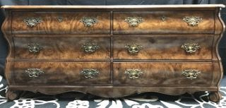 BERNHARDT FURNITURE COMPANY FLAIR DIVISION BURL LIKE VENEER DRESSER WITH  CURLED FEET AND BRASS HARDWARE