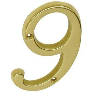 Schlage Sc23096605 Polished Brass Address Numbers 4 Inch Height Number 9 Solid Brass House Number 3096 By Schlage Lock Kick Plate Schlage Locks Polished Brass