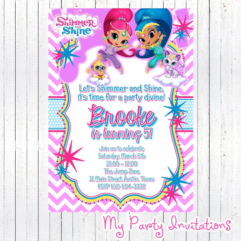 Shimmer And Shine Birthday Invitation Diy Digital File Printable Party Invite Prin Birthday Invitations Birthday Invitations Diy Birthday Party Invitations