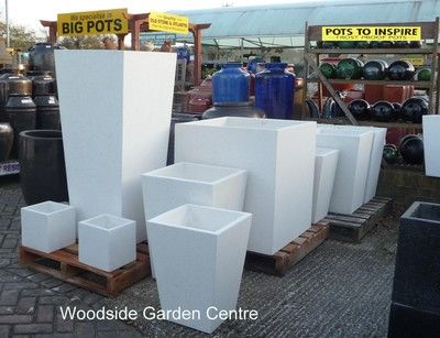 Extra Large Tall White Terrazzo Square Taper Pot Planters