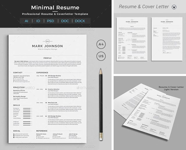 How To Make A Resume With Word Resume Word Template  Cv Template With Super Clean And Modern Look .