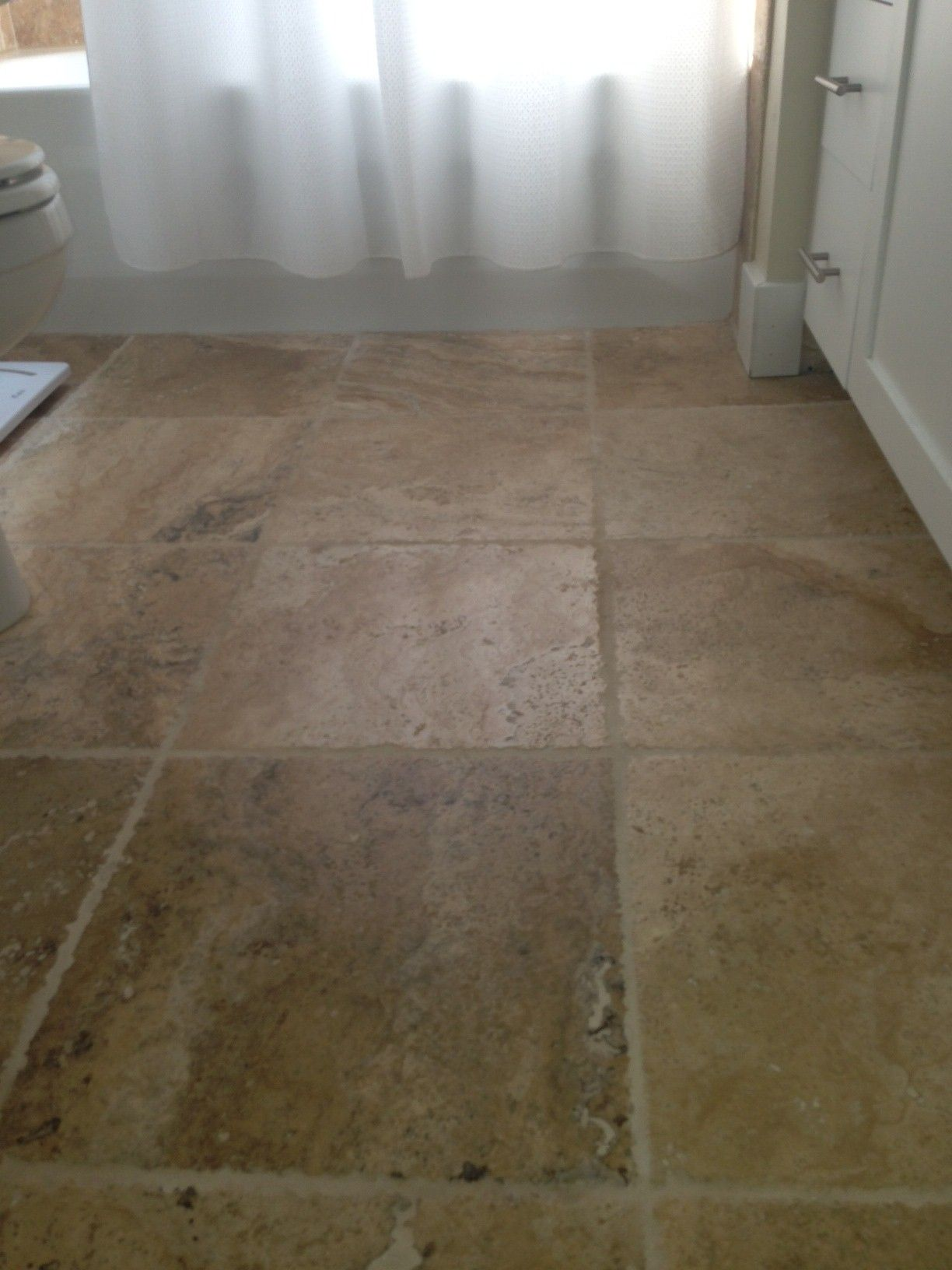 Bathroom Floor 16x16 Tile Tumbled Picasso Travertine Chiseled