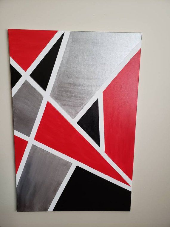 Abstract Red Black White And Silver Canvas Art Diy Canvas Wall Art Red Paintings Canvas Abstract Canvas Art