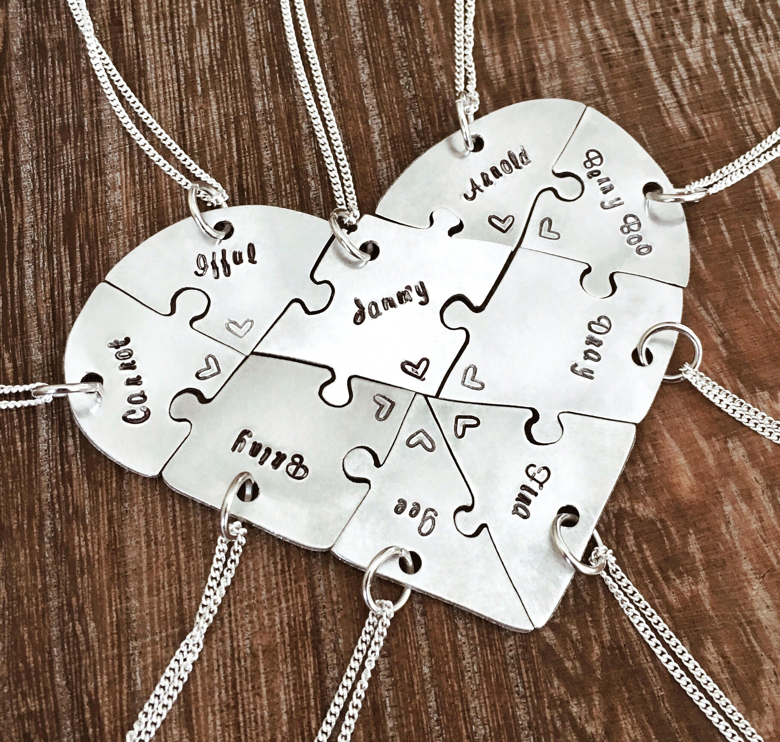 hand engraved argentium silver heart puzzle necklaces, friendship