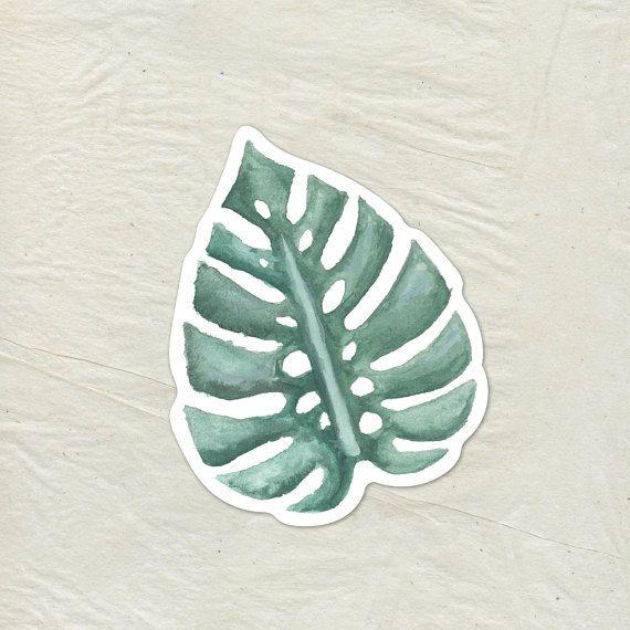 Tropical Palm Leaf Decal Palm Leaf Vinyl Sticker Watercolor