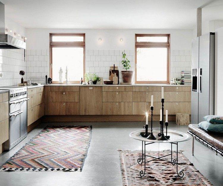 estrich bodenbelag f r k che mit gemusterten teppichen brick walls in 2019 k che estrich. Black Bedroom Furniture Sets. Home Design Ideas