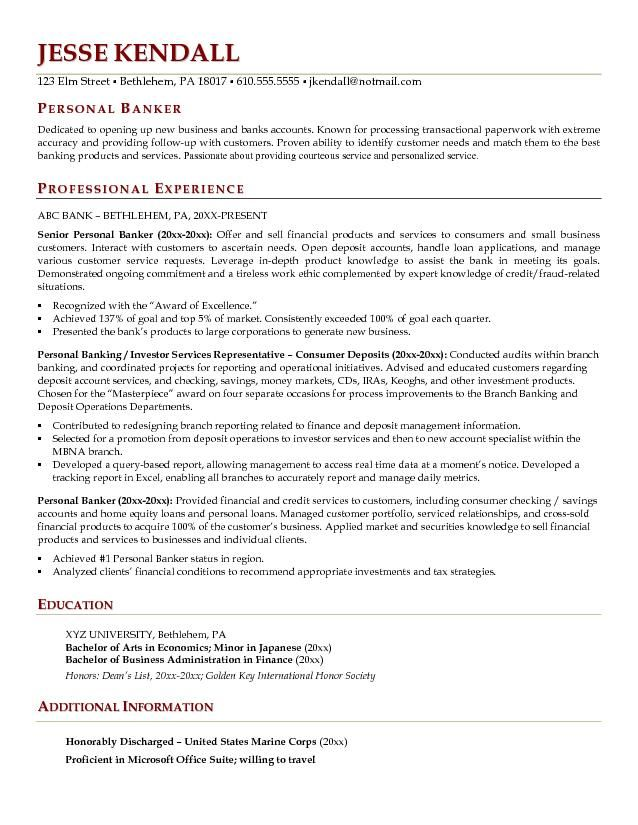 Personal Banker Resume Example Free Resume Templates Teacher Resume Examples Resume Examples Resume
