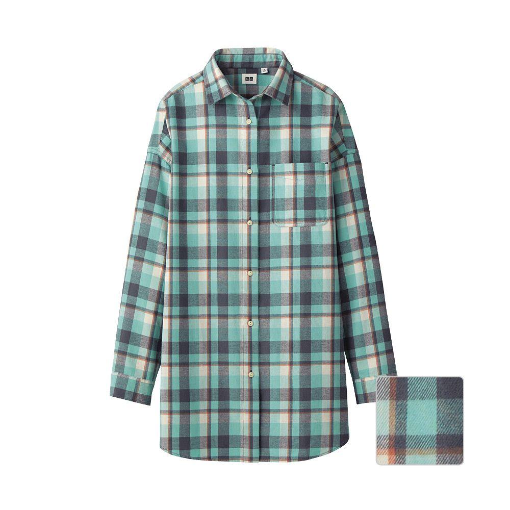 Uniqlo flannel jacket  UNIQLO WOMEN FLANNEL CHECK LONG SLEEVE SHIRT TUNIC   uniqlo