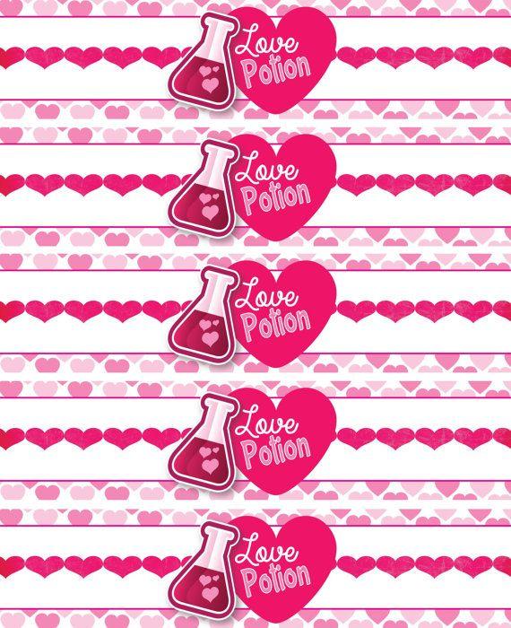 Love Potion Drink Labels: INSTANT DOWNLOAD Valentine's Water Bottle Labels