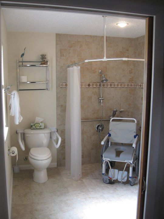Smallest size for an ada compliant home bathroom with for Handicap home designs