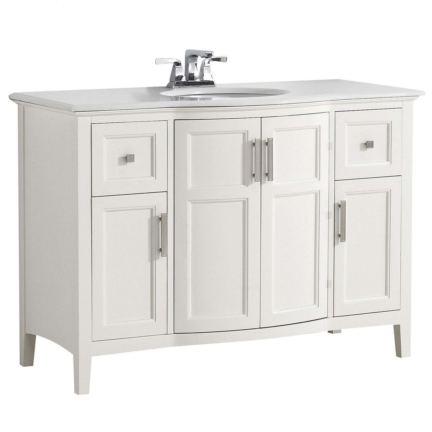 Winston 48 Inch Rounded Front Bath Vanity With Bombay White