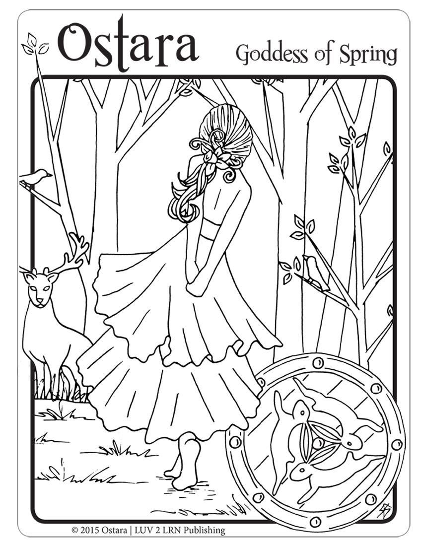 Luv 2 Lrn Ostara Goddess Of Spring B W English Please Like Share Comment Tag And Pin It Witch Coloring Pages Coloring Books Coloring Pages