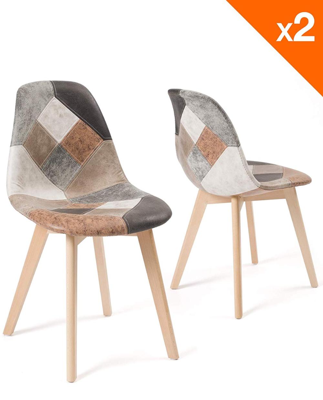 kayelles lot de 2 chaises patchwork