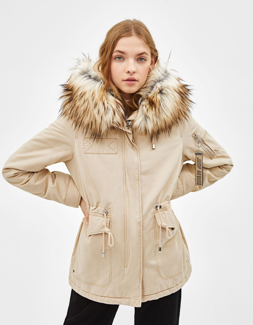 Parka With Hood Discover This And Many More Items In Bershka With New Products Every Week Parka Coat Fur Parka [ 1313 x 1024 Pixel ]
