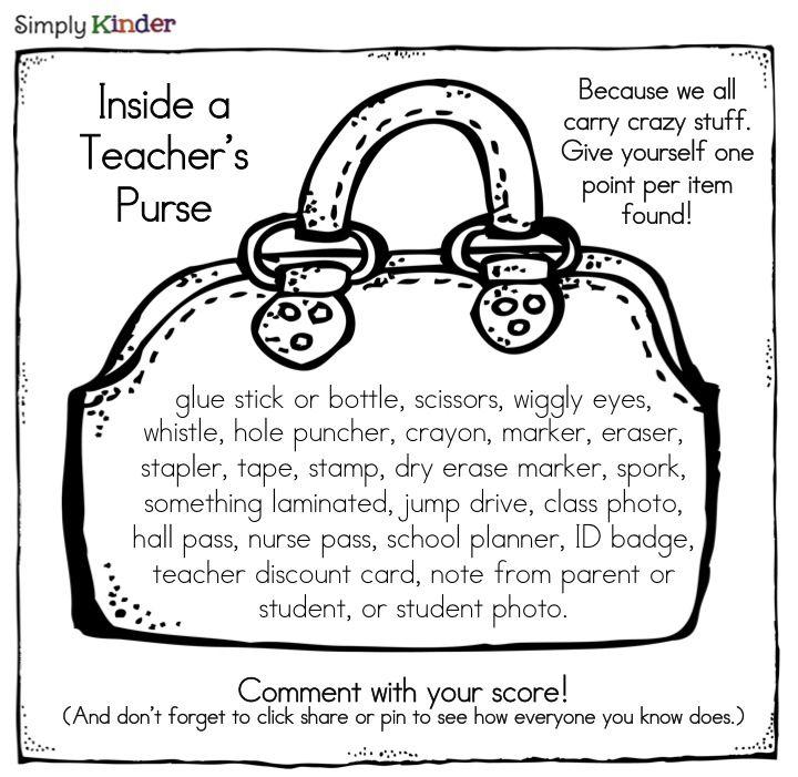teacher's purse scavenger hunt-great beginning of the year