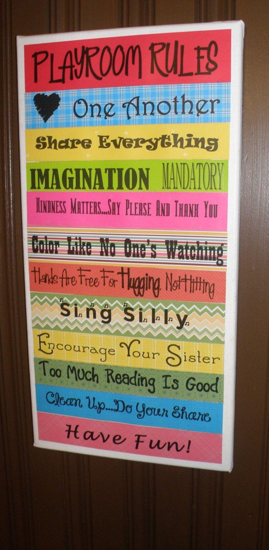 Playroom Wall Ideas   Playroom rules, kid decoration, wall decoration   Ideas for Giselle