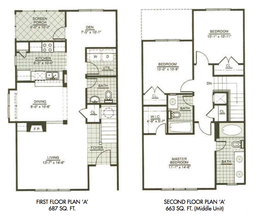 Three bedroom townhome tt pinterest third bedrooms for 2 story villa floor plans
