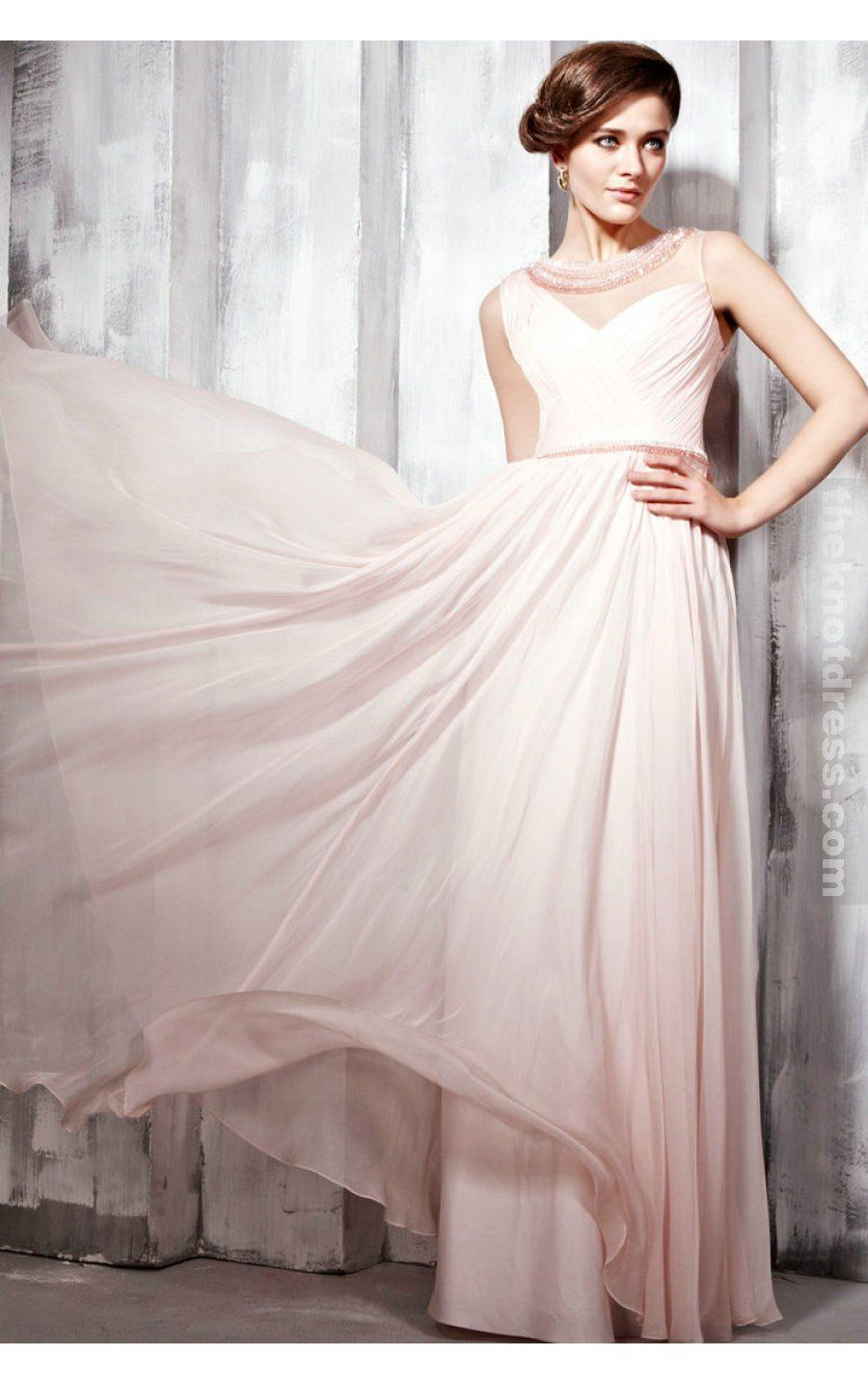 Pink A-line Floor-length Jewel Dress