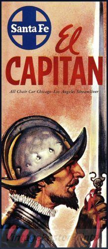 Santa Fe Railroad 1954 El Capitan Vintage Poster Art Print The Conquistador