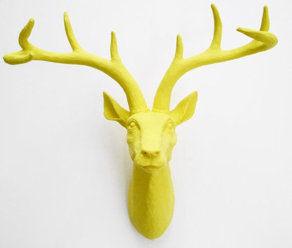 Reserved for Peri - Yellow Deer Head, Faux Taxidermy, Deer Head ...