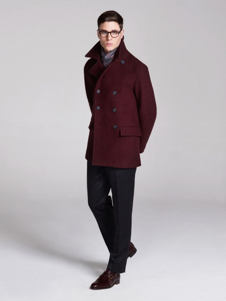 Men&39s Burgundy Pea Coat Charcoal Dress Pants Burgundy Leather