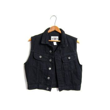 Black Jean Vest Cropped Denim Sleeveless JEAN Jacket Moto Grunge ...