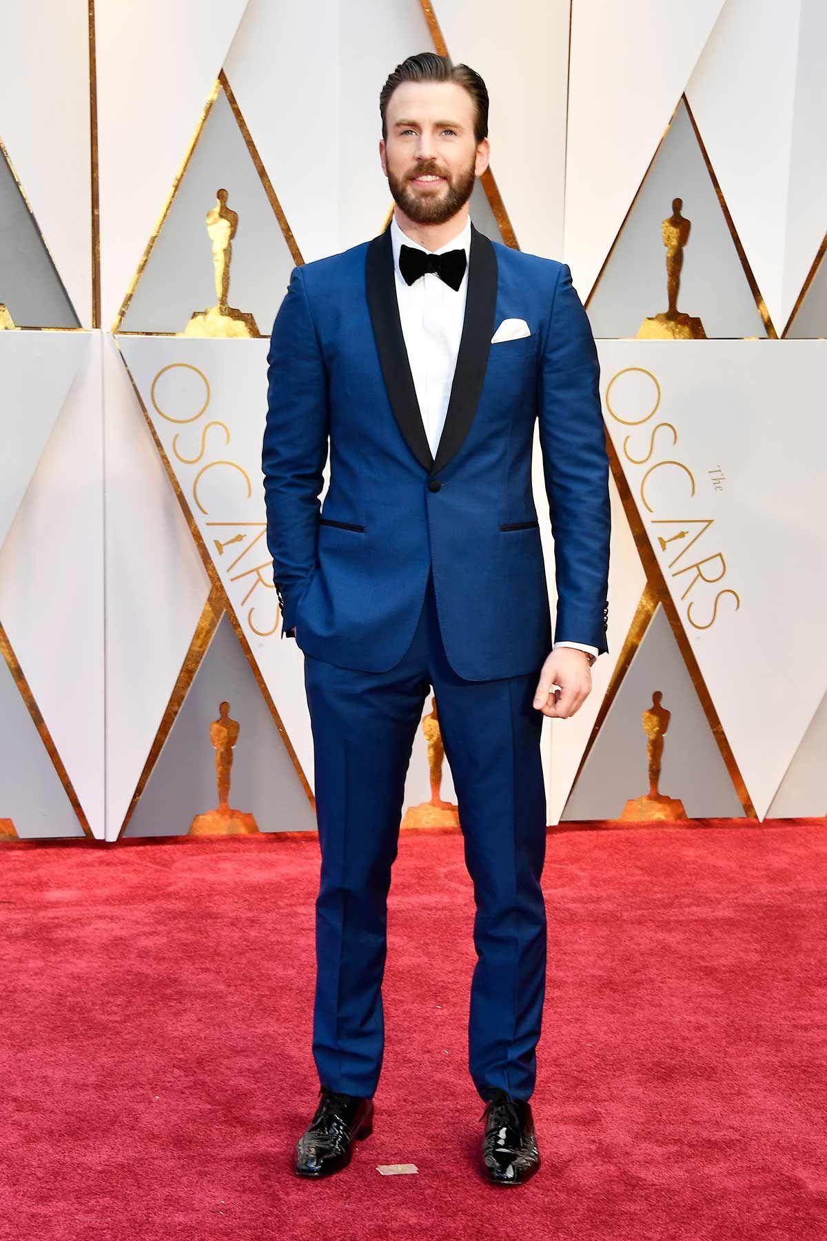 La Alfombra Roja De Los Premios Oscar 2017 Esmoquin Para Novio Traje Para Boda Hombre Traje De Novio Azul
