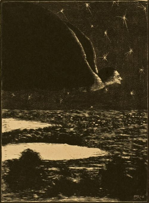 """Vampire"" From the series ""Late, almost morning"" wood engraving František Koblíha, 1909-10"