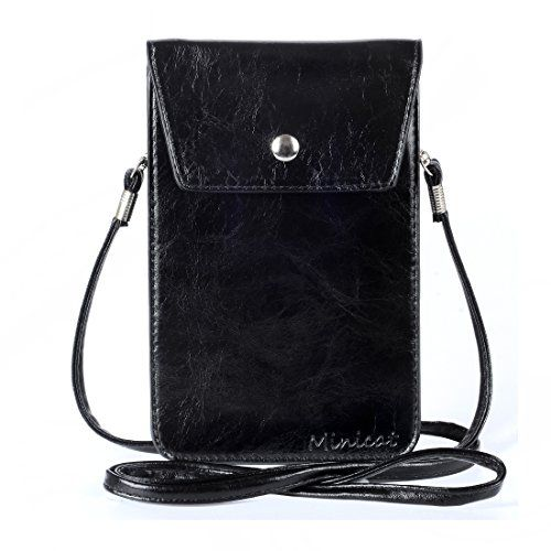 MINICAT Winter Fashion PU Leather Small Crossbody Cell Phone Purse Wallet Smartphone Bags For WomenBlack >>> Check out the image by visiting the link.