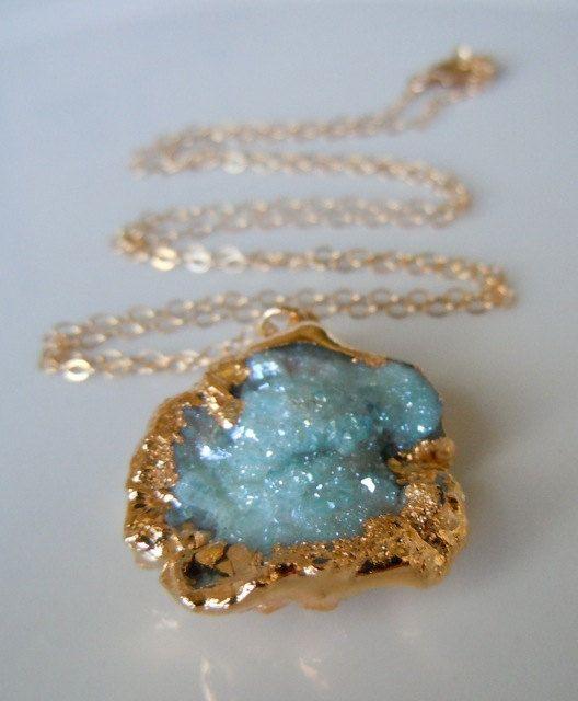 Blue Druzy Necklace-Aqua Aura Mushroom Druzy -Drusy Desert Rose... Love it and yes I want it!!! :-D