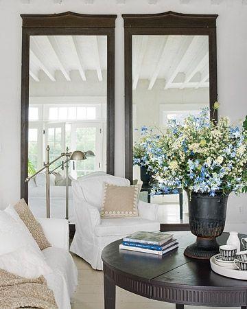 mirrors, flowers, white chairs   LIVING   Pinterest   Floor mirror ...
