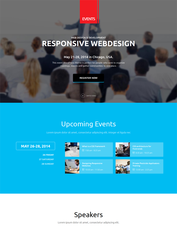 This Wordpress Theme For Events Offers A Responsive Layout A Flat Design Event Management Live Color And Font Cu Wordpress Theme Best Wordpress Themes Theme