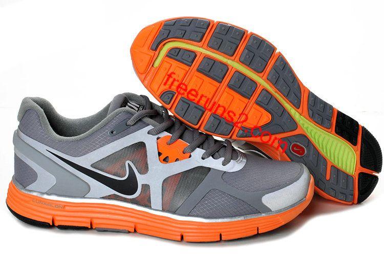 Mens Nike Lunarglide 3 Cool Grey BlackTotal OrangeReflective Silver  Shield Shoes