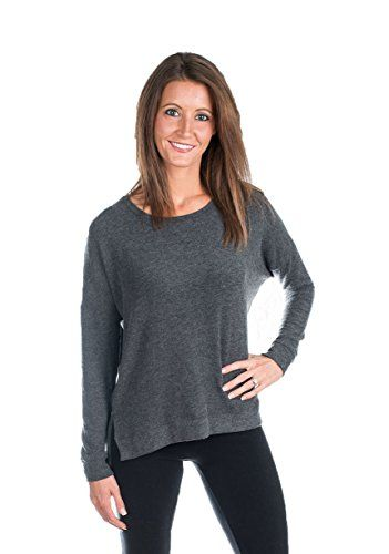 Velvet by Graham and Spencer Sancha Cozy Jersey Sweatshirt, Charcoal, L ** Click on the image for additional details.
