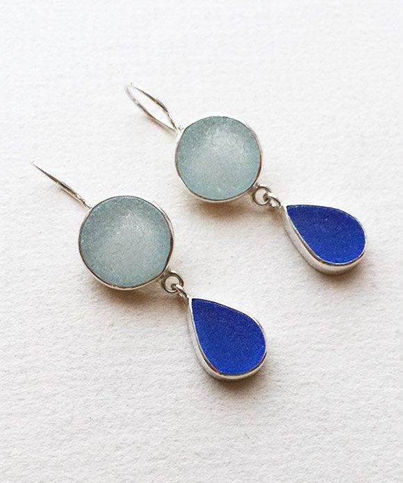 Coke Bottle Blue and Cobalt Sea Glass Earrings by JL925 Jessica Lee