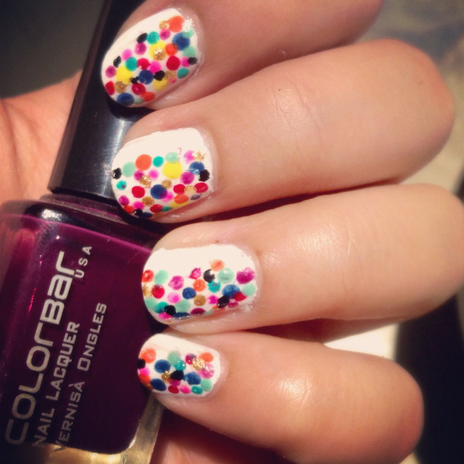 Easiest nail design diy dotting tool colourful dots short nails
