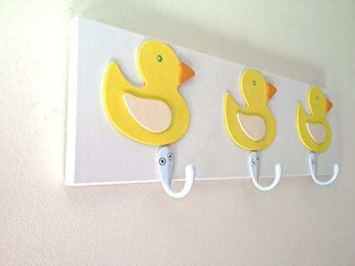 Yellow Rubber Ducky 3 Wall Hooks Unisex Bedroom Bathroom Wall