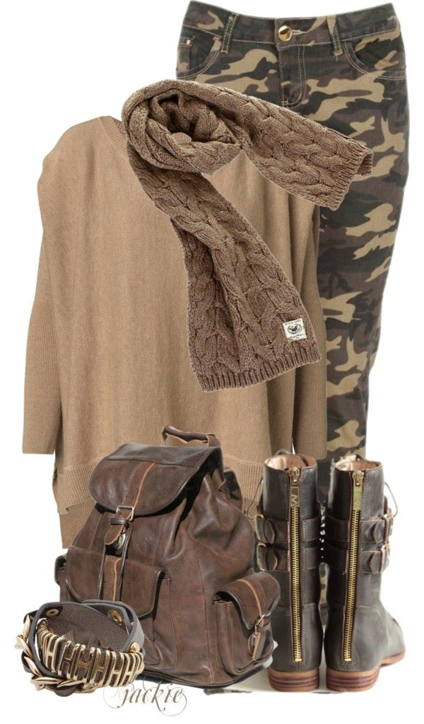 """""""Camoflage Pants"""" by jackie22 on Polyvore - Totally LOVE this and I already have the boots!"""