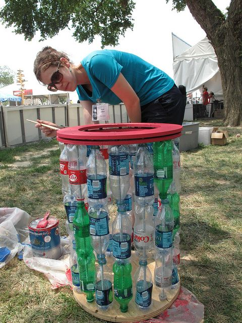 Recycled soda bottle Trash can