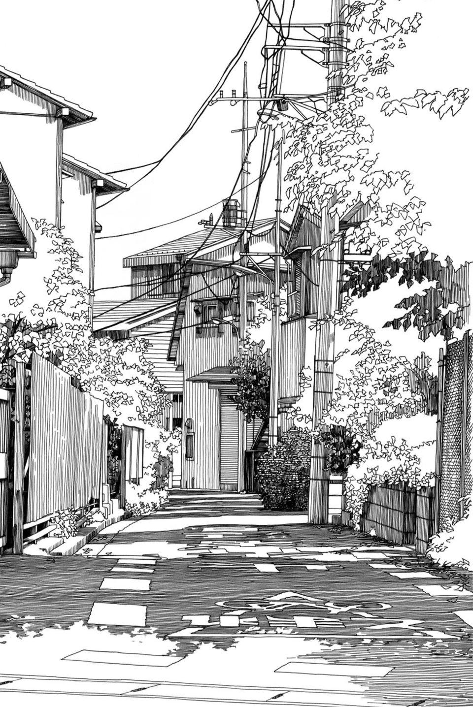 Awesome Manga Background Cityscape Drawing Landscape Drawings Landscape Sketch