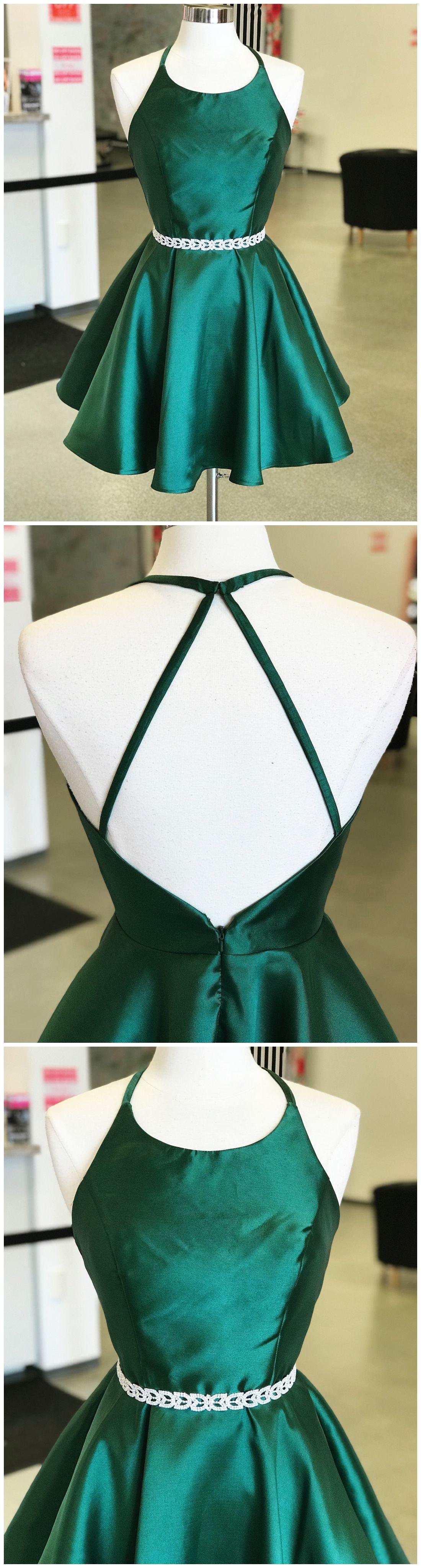 Dark green dresses open back cheap short prom