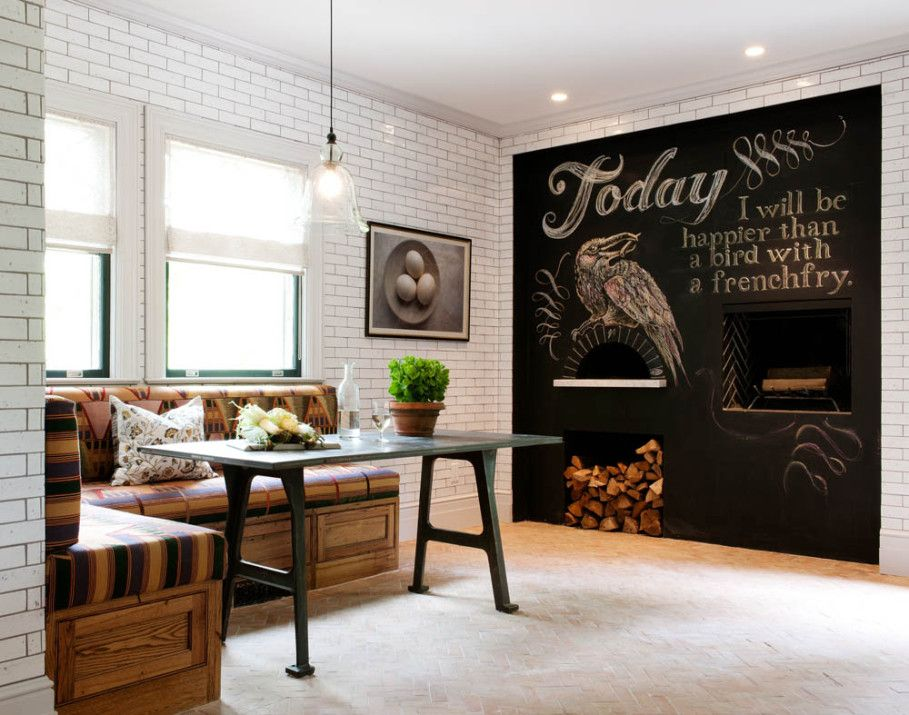Dining Room Lovely Design With Huge Black Chalkboard Beside Exposed White Brick Wall