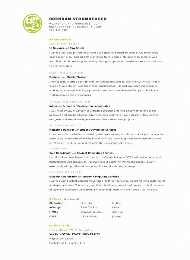 stylish resume by brendan stromberger ui designer - Ui Designer Resume